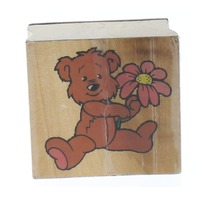 Teddy Bear with Daisy Flower Wooden Rubber Stamp