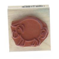 Rubber Stampede Round little Pig Piggly Wiggly Wooden Rubber Stamp