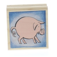 Rubber Stampede Round little Pig Piggly Wiggly Wooden Rubber Stamp