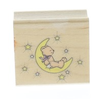 Hero Arts Moon Teddy Bear and Stars Wooden Rubber Stamp