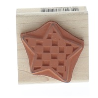 Rubber Stampede Checkerboard Star Wooden Rubber Stamp