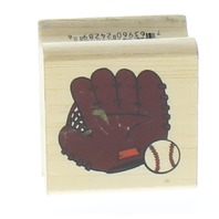 Stamps Etc.  Baseball Glove and Ball  Wooden Rubber Stamp