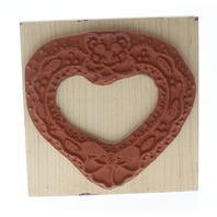 Sydnee's Creations Teddy Bear Heart Frame Wooden Rubber Stamp