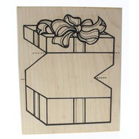 Limited Edition 3-D Style Gift Present Box Wooden Rubber Stamp