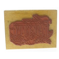 Double D Happy Thanksgiving Pumpkin XL Wooden Rubber Stamp