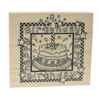 PSX K-1337 Happy Birthday Cake with Candle Celebrate Wooden Rubber Stamp