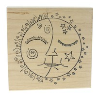 Copper Leaf Creations Sun and Moon Ethereal Faces Wooden Rubber Stamp