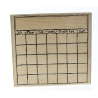 JRL Design Blank Calendar Month to Month Wooden Rubber Stamp