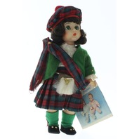 """Madame Alexander 8"""" Doll Scottish Scotland Girl in Tagged Outfit Plaid"""