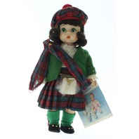 "Madame Alexander 8"" Doll Scottish Scotland Girl in Tagged Outfit Plaid"