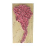 Hampton Art Watercolor Daisy Long Stem Botanical Flower Wooden Rubber Stamp