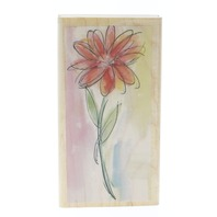 Hampton Art Watercolor Daisy Long Stem Botanical Flower Wooden Rubber Stamp