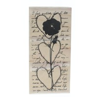 Stampington and CompanyRose Stemmed Heart Trio Wooden Rubber Stamp