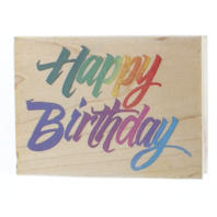 Happy Birthday All Night Media Wooden Rubber Stamp