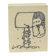 Hooks Lines and Inkers Teddy Bear Mail Box Wooden Rubber Stamp