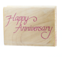 Impressive Stamps Happy Anniversary Words Writing Wooden Rubber Stamp