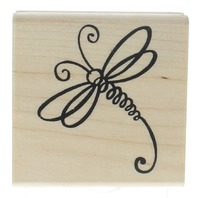 Stampendous Couleur De Vie Whimsical Dragonfly Insect Wooden Rubber Stamp