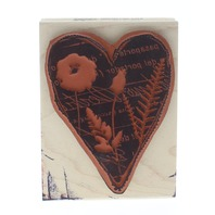 Stampington and Co Floral Flower Document Heart Silhouette Wooden Rubber Stamp