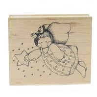 Embossing Arts Flying Angel with a Shooting Star Wooden Rubber Stamp