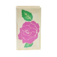 Embossing Arts Rose Flower Petals and Leaf Wooden Rubber Stamp