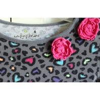 Girls Jumping Beans Sz 6 Leopard Heart Pink Ruffle Dress