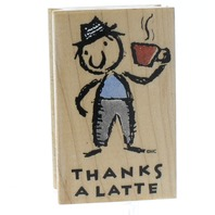 All Night Media Thanks a Latte Coffee Drinker Wooden Rubber Stamp