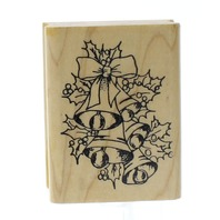 Embossing Arts Holly Bells Holiday Christmas Wooden Rubber Stamp