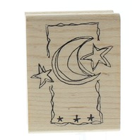 Magenta Moon and Stars Wooden Rubber Stamp