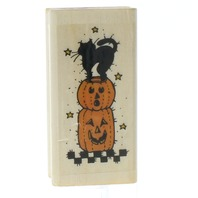 Uptown Rubber Halloween Black Cat and Pumpkins Wooden Rubber Stamp