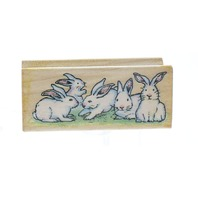 All Night Media Easter Bunny Party Border Wooden Rubber Stamp