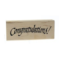 Denami Design 1999 Congratulations Quote Words Wooden Rubber Stamp