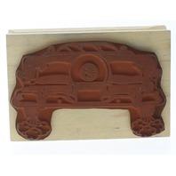 Post Impressions Vintage Car Burning Rubber Wooden Rubber Stamp