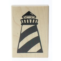 JRl Designs Bold Nautical Light House Image Wooden Rubber Stamp
