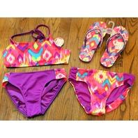 Justice NWT 3 pc Sz 14 Girls swimsuit Lot Sz 4/5 Flips Flops