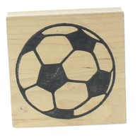 The Cottage Stamper Soccer Ball sports theme Wooden Rubber Stamp