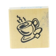 Anitas Coffee Tea Cup Hot Steaming Wooden Rubber Stamp