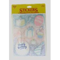 Hallmark Vintage Sticker Pack Happy Birthday Cake Party Gift 4 Sheet pack 1985