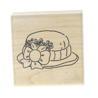 JRL Design Derby Hat with Bow and Flowers Whimsical Wooden Rubber Stamp