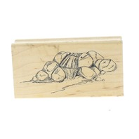 Art Impressions Babbling Brook over Rocks Wooden Rubber Stamp