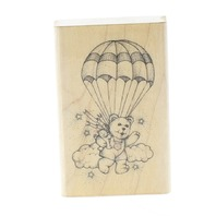 Hero Arts 1988 Teddy Bear Parachuting with his buddy Wooden Rubber Stamp