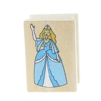 Princess or Queen waving to her subjects Wooden Rubber Stamp