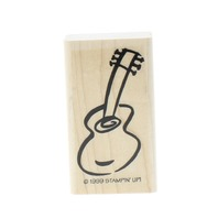 Whimsical Guitar Stampin Up 1999 Wooden Rubber Stamp