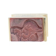 Kid Stamps Naughty Kid getting his ear pulled 1983 Wooden Rubber Stamp