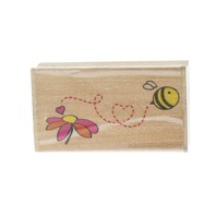 Bumble Bee with a Daisy Flower Wooden Rubber Stamp