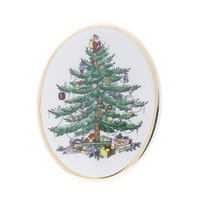 Spode China Holiday Christmas Tree Oval Hat Lapel Pin