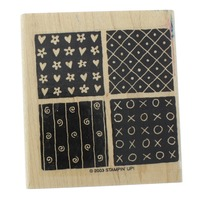 Stampin Up Block Quilt Squares Hearts Dots XOXO Wooden Rubber Stamp