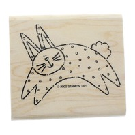 Stampin Up 2000 Frolicking Bunny Rabbit Easter Inspired Wooden Rubber Stamp