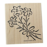 Stampin Up 2000 Easter Lilly Bunch of Flowers Wooden Rubber Stamp