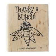 Stampin Up 2000 Thanks a Bunch Carrots Wooden Rubber Stamp