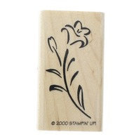 Stampin Up 2000 Single Long Stem Lilly Blossom  Wooden Rubber Stamp